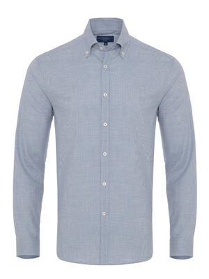 Germirli Mavi Zigzag Desenli Düğmeli Yaka Tailor Fit Gömlek