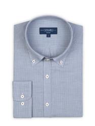 Germirli Mavi Zigzag Desenli Düğmeli Yaka Tailor Fit Gömlek - Thumbnail