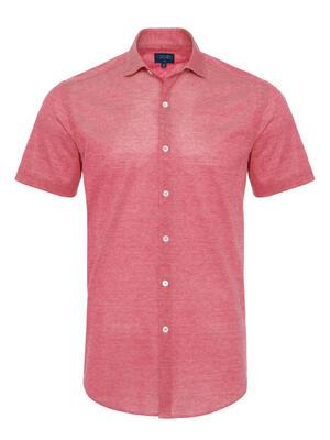 Germirli - Germirli Mercan Kırmızısı Klasik Yaka Piquet Örme Kısa Kollu Slim Fit Gömlek