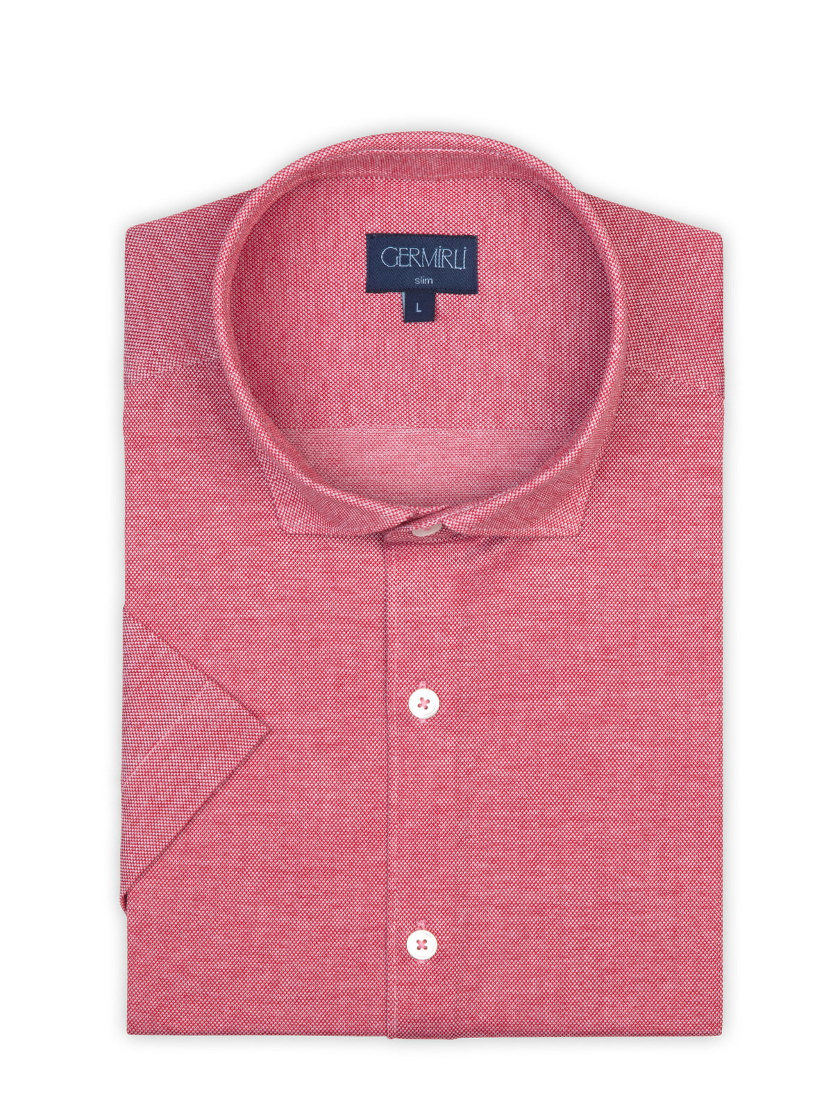 Germirli Mercan Kırmızısı Klasik Yaka Piquet Örme Kısa Kollu Slim Fit Gömlek