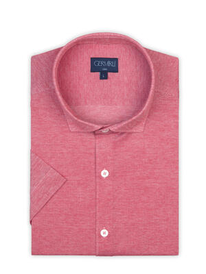 Germirli - Germirli Mercan Kırmızısı Klasik Yaka Piquet Örme Kısa Kollu Slim Fit Gömlek (1)