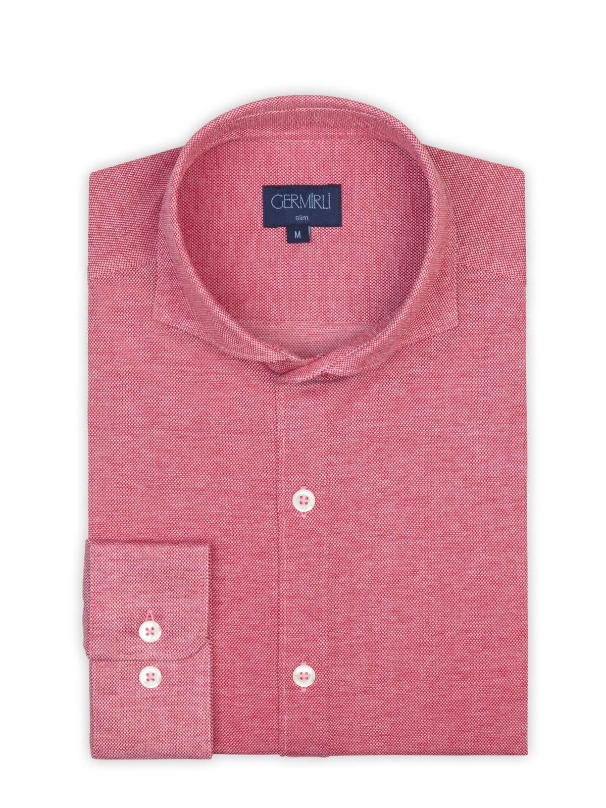 Germirli Mercan Kırmızısı Klasik Yaka Piquet Örme Slim Fit Gömlek