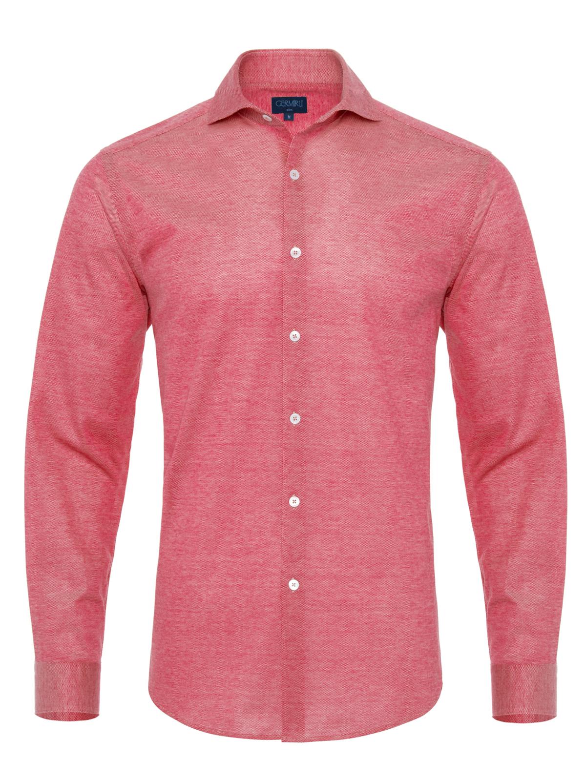 Germirli - Germirli Coral Red Soft Collar Jersey Slim Fit Shirt