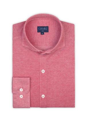 Germirli - Germirli Coral Red Soft Collar Jersey Slim Fit Shirt (1)