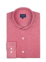 Germirli - Germirli Mercan Kırmızısı Klasik Yaka Piquet Örme Slim Fit Gömlek (1)