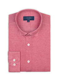 Germirli - Germirli Mercan Kırmızısı Klasik Yaka Piquet Örme Tailor Fit Gömlek (1)