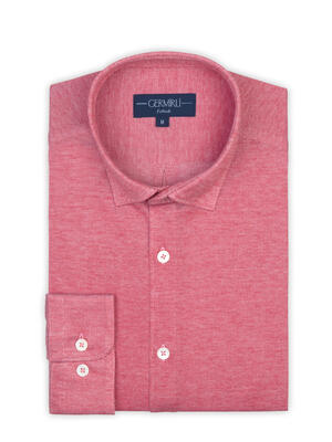 Germirli - Germirli Coral Red Soft Collar Jersey Tailor Fit Shirt (1)