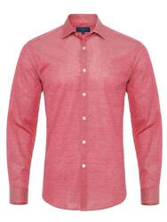 Germirli - Germirli Mercan Kırmızısı Klasik Yaka Piquet Örme Tailor Fit Gömlek
