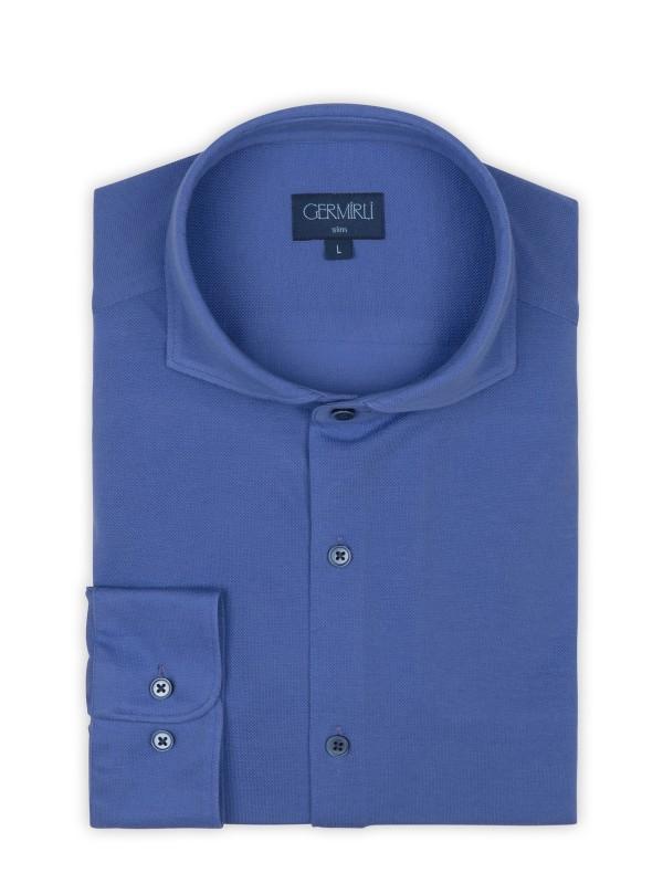 Germirli - Germirli Mor Italyan Yaka Örme Slim Fit Gömlek (1)