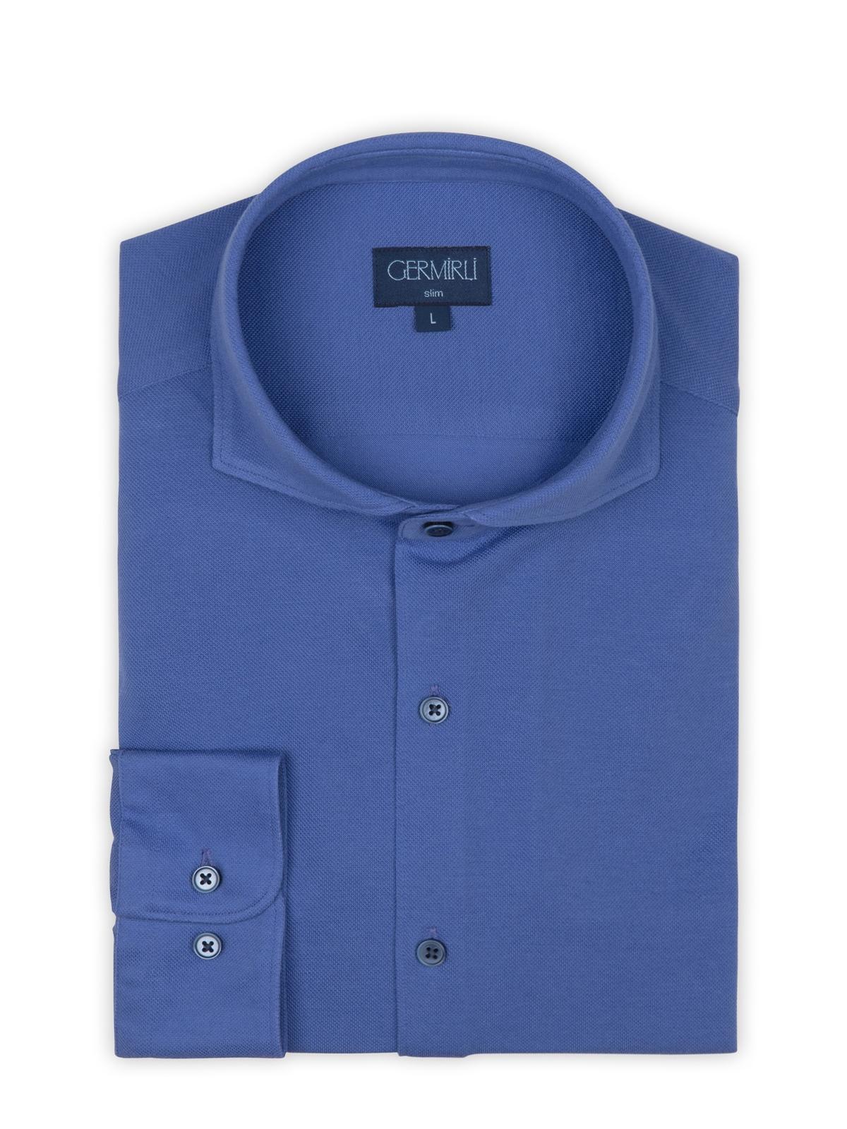 Germirli Mor Italyan Yaka Örme Slim Fit Gömlek