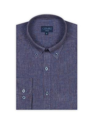 Germirli - Germirli Mor Melange Delave Keten Düğmeli Yaka Tailor Fit Gömlek (1)
