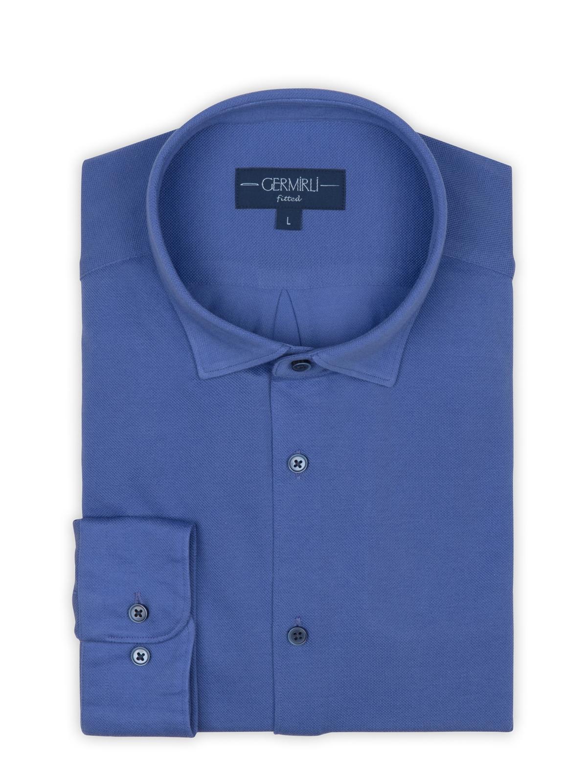 Germirli Mor Soft Yaka Örme Tailor Fit Gömlek