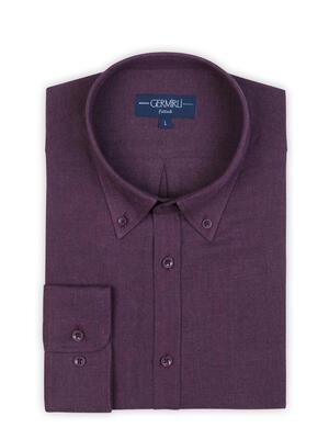 Germirli - Germirli Mürdüm Flanel Düğmeli Yaka Tailor Fit Gömlek (1)