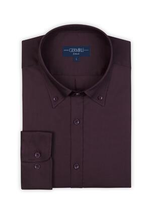 Germirli - Germirli Mürdüm Panama Doku Düğmeli Yaka Tailor Fit Gömlek (1)