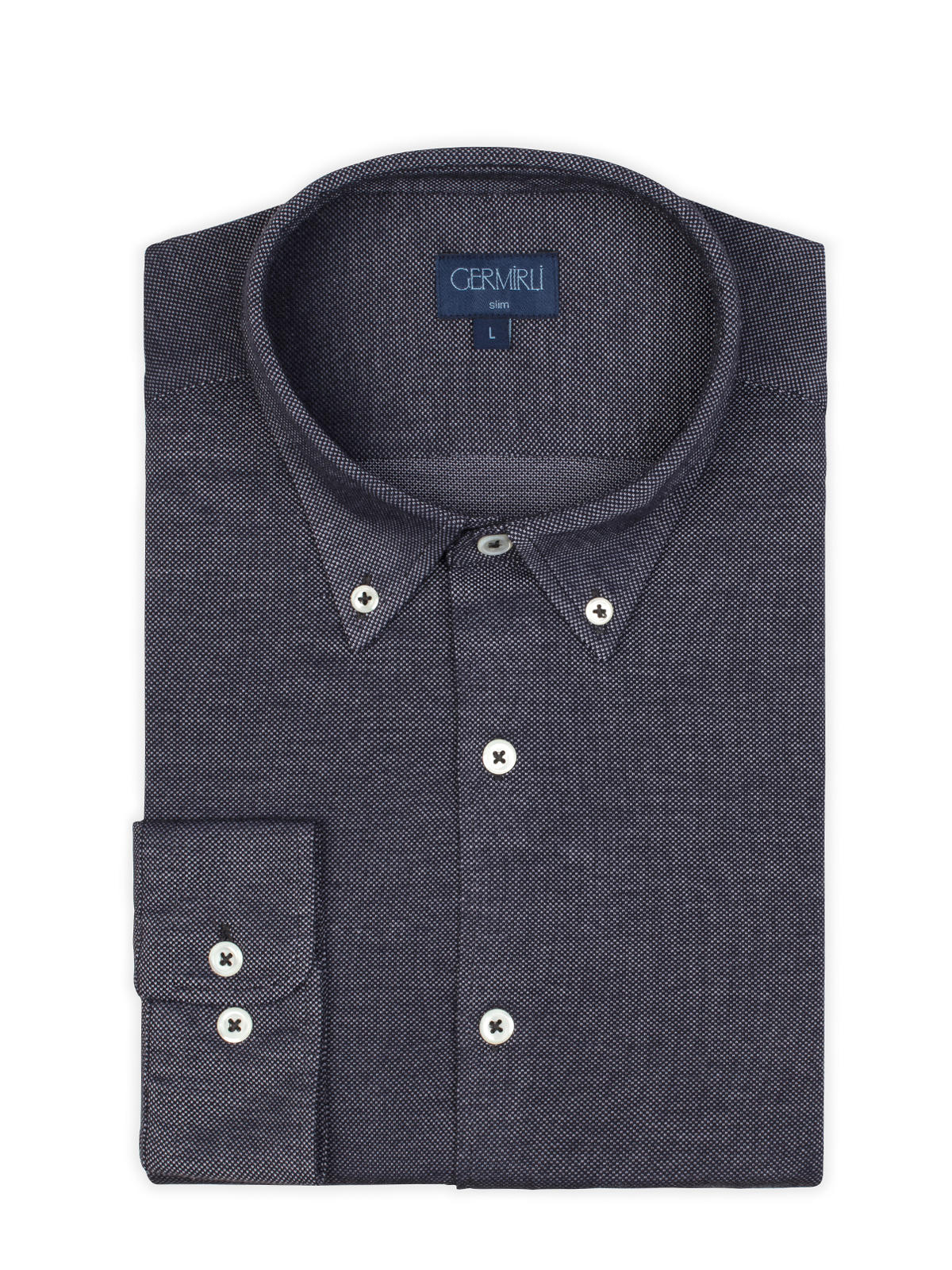 Germirli Navy Blue Button Down Collar Knitted Slim Fit Shirt