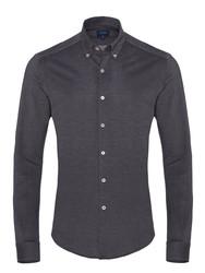 Germirli - Germirli Navy Blue Button Down Collar Knitted Slim Fit Shirt