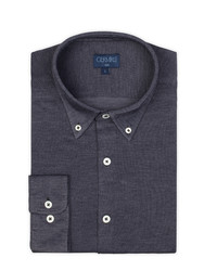 Germirli - Germirli Navy Blue Button Down Collar Knitted Slim Fit Shirt (1)