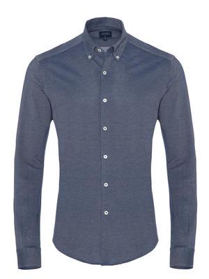 Germirli - Germirli Navy Blue Button Down Collar Piquet Knitted Slim Fit Shirt