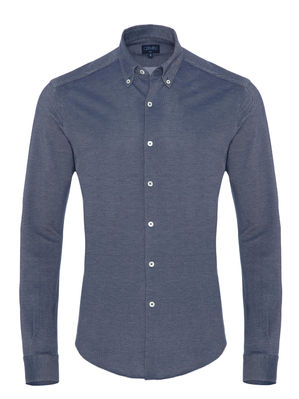 Germirli Navy Blue Button Down Collar Piquet Knitted Slim Fit Shirt