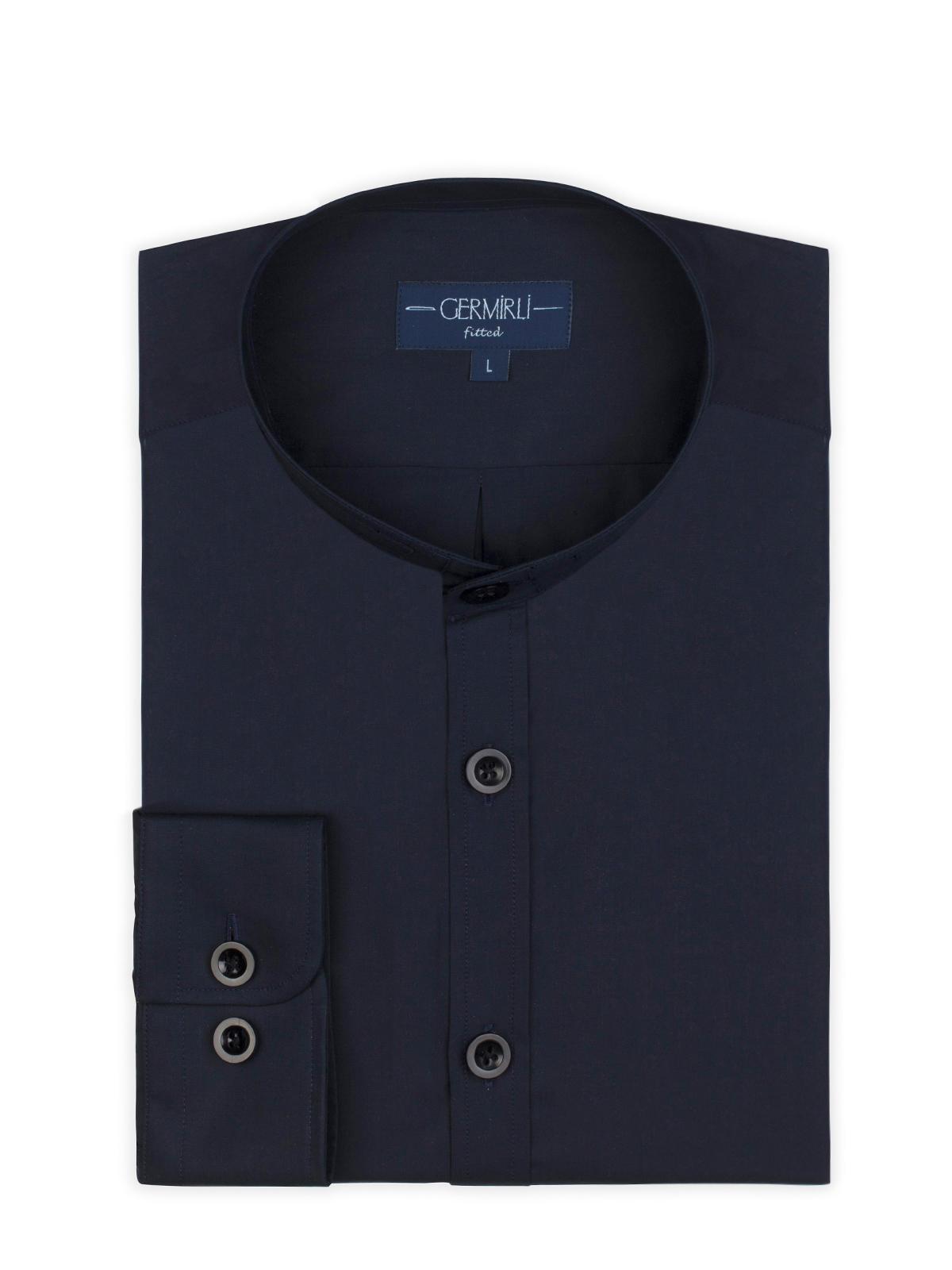 Germirli Navy Blue Grandad Collar Tailor Fit Shirt