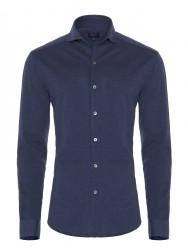Germirli - Germirli Navy Blue Semi Spread Collar Piquet Knitted Slim Fit Shirt