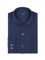 Germirli - Germirli Navy Blue Semi Spread Collar Piquet Knitted Slim Fit Shirt (1)