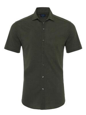 Germirli Nefti Yeşili Klasik Yaka Piquet Örme Kısa Kollu Slim Fit Gömlek