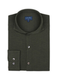 Germirli - Germirli Nefti Yeşili Klasik Yaka Piquet Örme Slim Fit Gömlek (1)