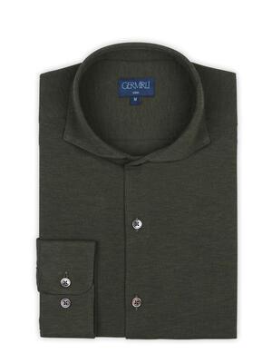 Germirli - Germirli Dark Green Soft Collar Jersey Slim Fit Shirt (1)