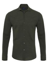 Germirli - Germirli Dark Green Soft Collar Jersey Slim Fit Shirt