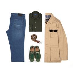 Germirli Nefti Yeşili Klasik Yaka Piquet Örme Tailor Fit Gömlek - Thumbnail