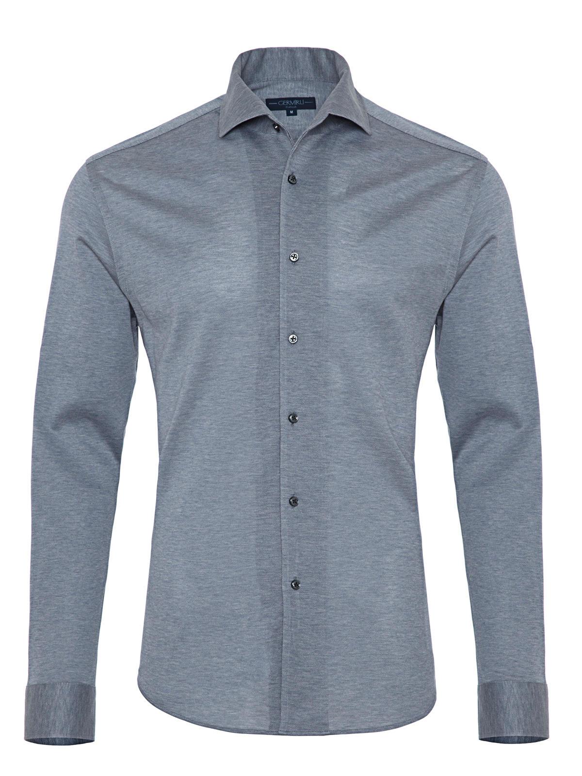 Germirli Nevapaş Light Blue Tailor Fit Piquet Knitted Shirt