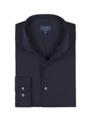Germirli - Germirli Nevapaş Navy Blue Semi Spread Collar Tailor Fit Shirt (1)