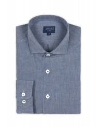 Germirli Nevapaş Spread Collar Blue Indigo Tailor Fit Shirt - Thumbnail