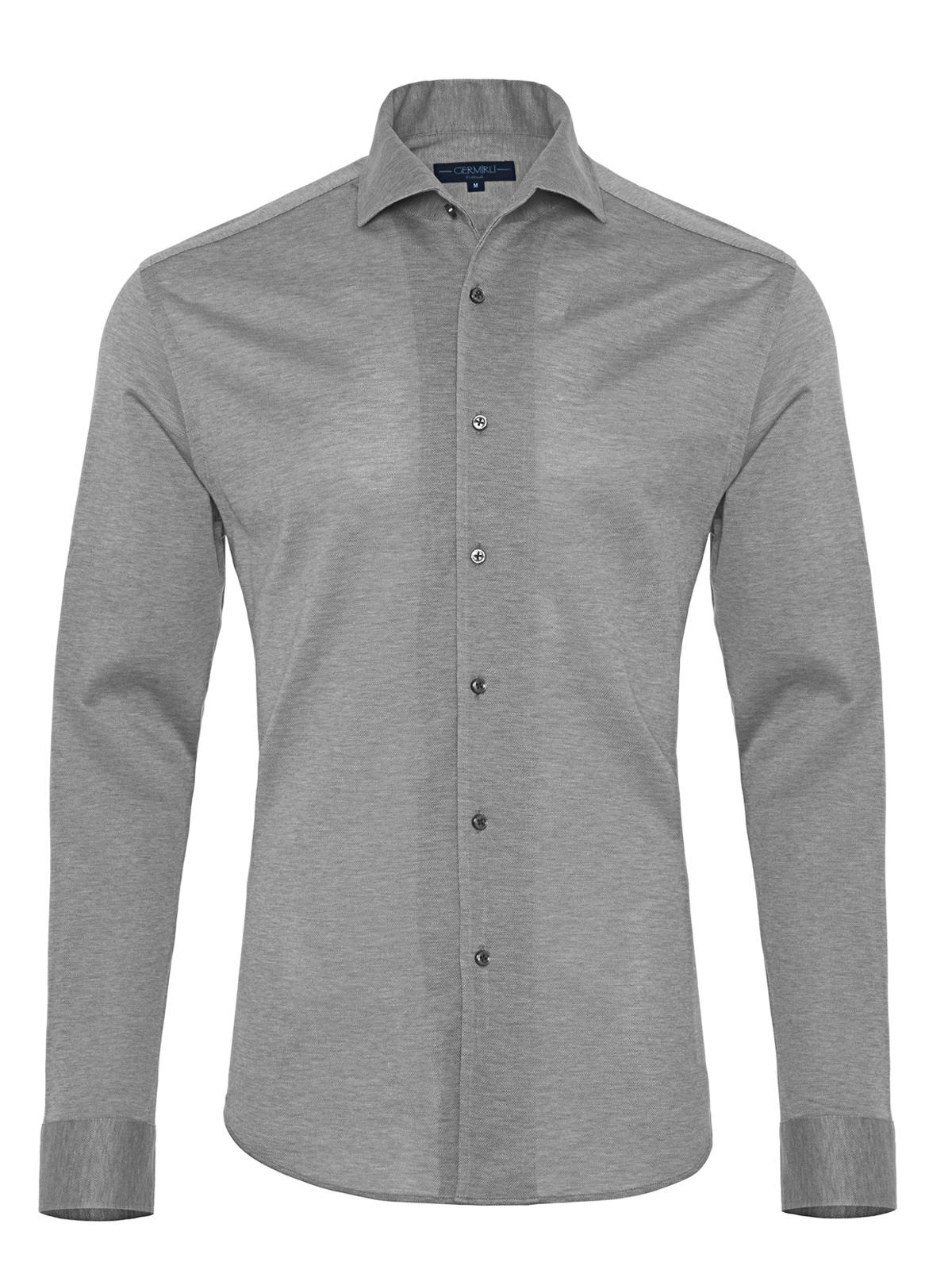 Germirli Nevapaş Spread Collar Grey Tailor Piquet Fit Knitted Shirt