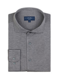 Germirli Nevapaş Spread Collar Grey Tailor Piquet Fit Knitted Shirt - Thumbnail