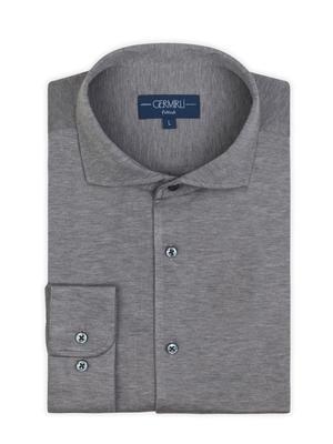 Germirli - Germirli Nevapaş Spread Collar Grey Tailor Piquet Fit Knitted Shirt (1)