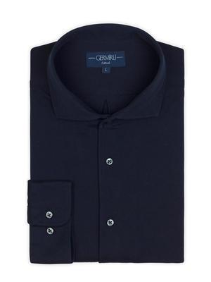 Germirli - Germirli Nevapaş Spread Collar Navy Blue Tailor Fit Piquet Knitted Shirt (1)