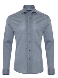 Germirli - Germirli Nevapaş Tek Parça Yaka Açık Mavi Tailor Fit Piquet Örme Gömlek