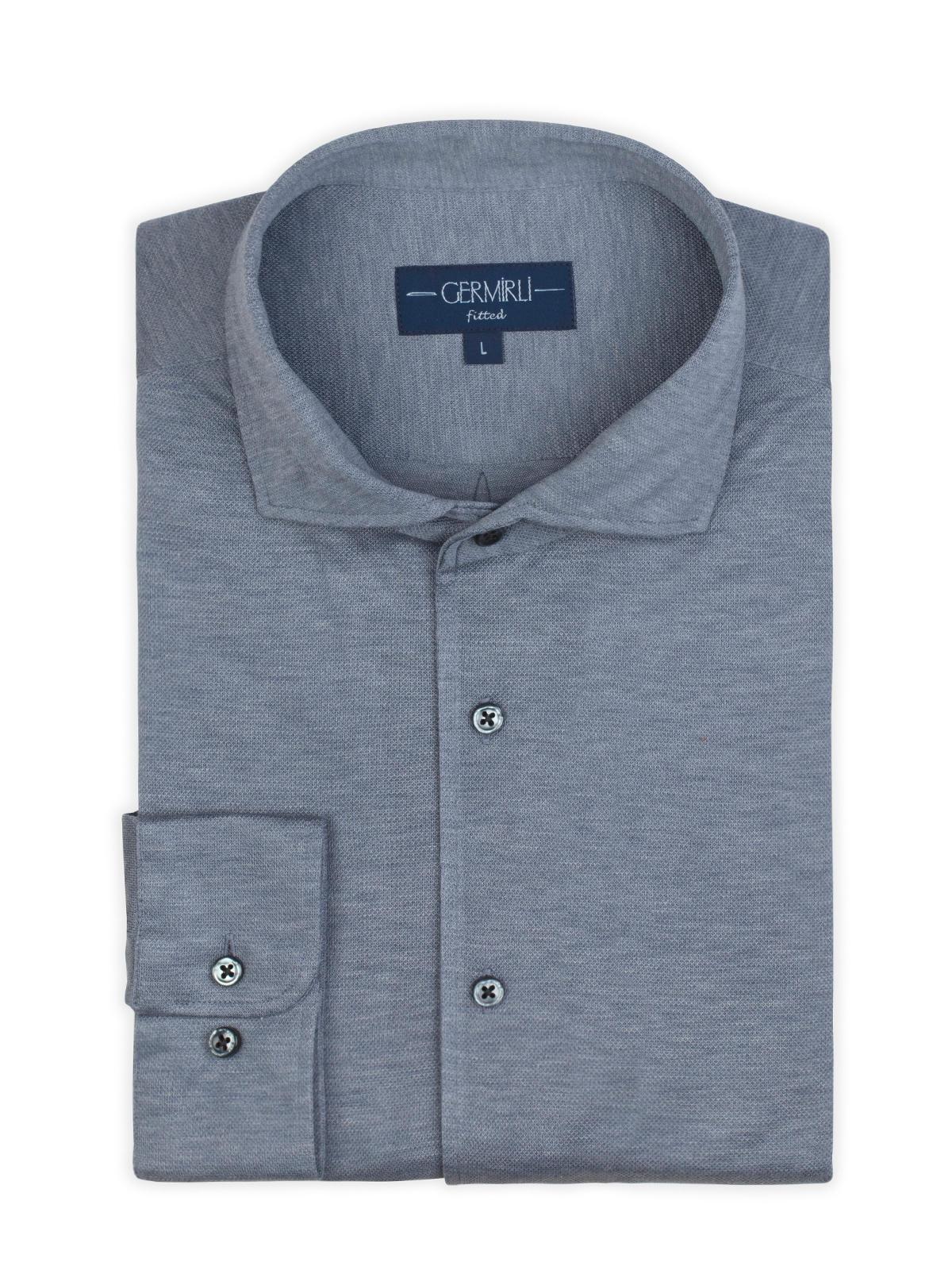 Germirli Nevapaş Tek Parça Yaka Açık Mavi Tailor Fit Piquet Örme Gömlek