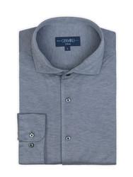 Germirli - Germirli Nevapaş Tek Parça Yaka Açık Mavi Tailor Fit Piquet Örme Gömlek (1)