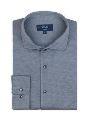 Germirli - Germirli Nevapaş Tek Parça Yaka Açık Mavi Tailor Fit Örme Gömlek (1)