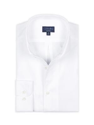 Germirli - Germirli Nevapaş Tek Parça Yaka Beyaz Dokulu Tailor Fit Gömlek (1)