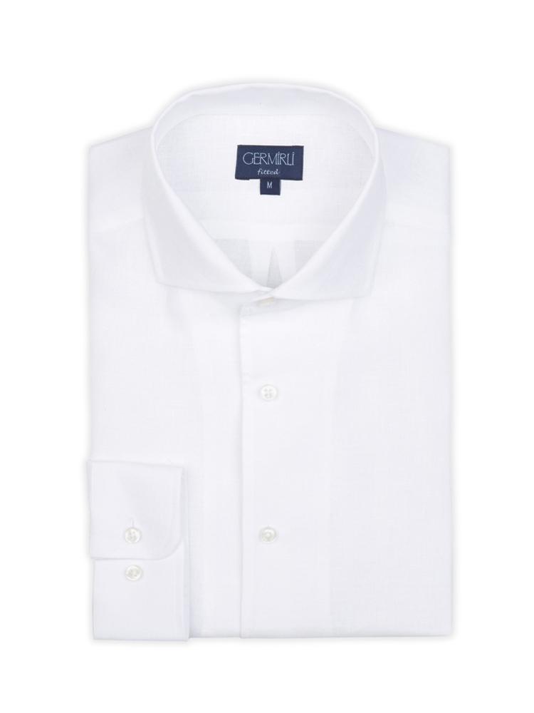 Germirli Nevapaş Tek Parça Yaka Beyaz Keten Tailor Fit Gömlek