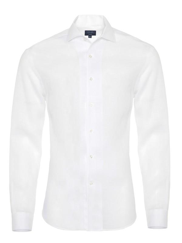 Germirli - Germirli Nevapaş Tek Parça Yaka Beyaz Keten Tailor Fit Gömlek