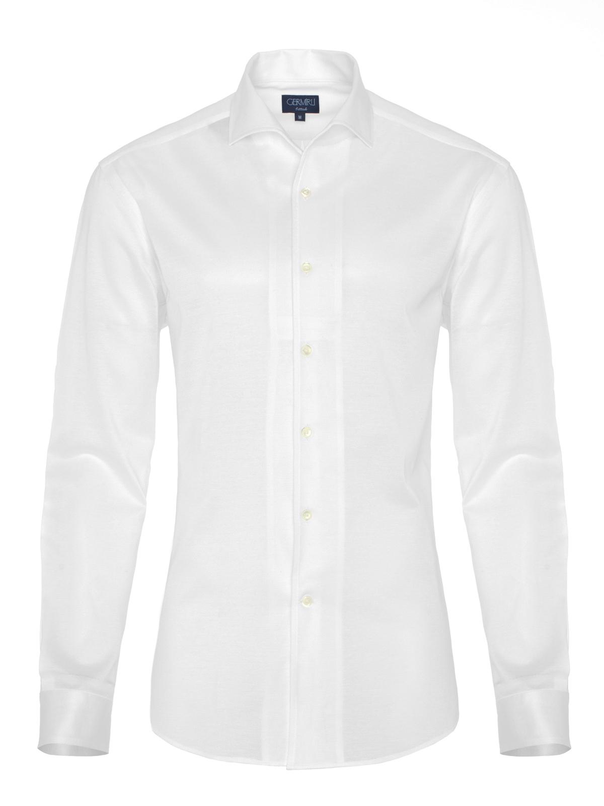 Germirli Nevapaş Tek Parça Yaka Beyaz Piquet Örme Tailor Fit Gömlek
