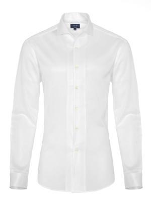 Germirli - Germirli Nevapaş Tek Parça Yaka Beyaz Piquet Örme Tailor Fit Gömlek