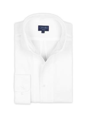 Germirli - Germirli Nevapaş Tek Parça Yaka Beyaz Piquet Örme Tailor Fit Gömlek (1)