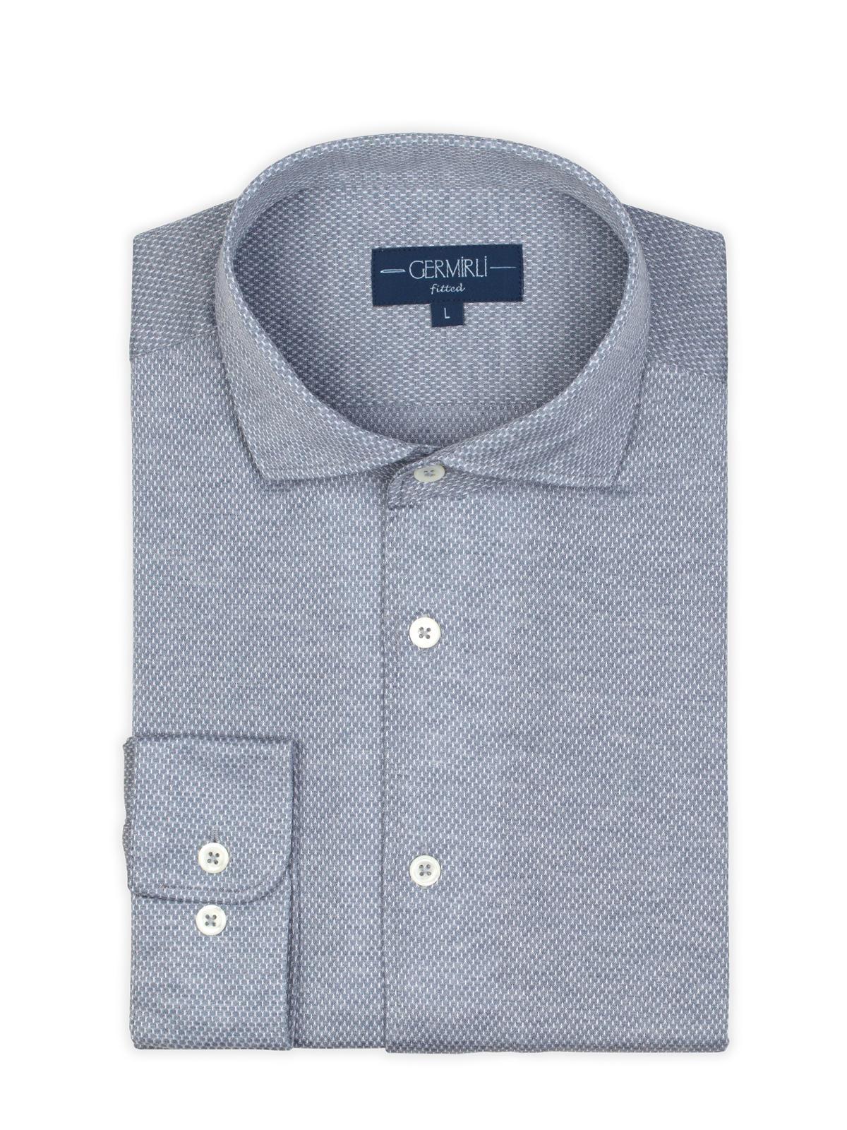 Germirli Nevapaş Tek Parça Yaka Gri Tailor Fit Gömlek