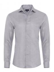 Germirli - Germirli Nevapaş Tek Parça Yaka Gri Dokulu Tailor Fit Gömlek